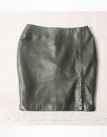 Adjustable Slit Leather Skirt