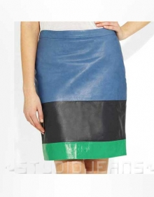 Tri Color Leather Skirt