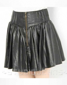 Sauvage Flare Leather Skirt - # 418