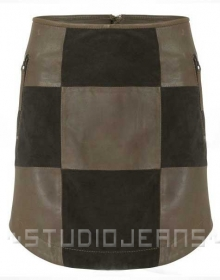 Check Smart Leather Skirt - # 488