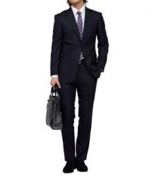 Black Merino Wool Suit - Pre Set Size