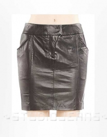 Fluted Leather Skirt - # 164