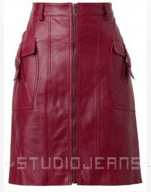 Front Pocket Leather Skirt - # 147