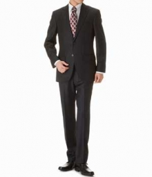 Black Pinstripe Merino Wool Suit