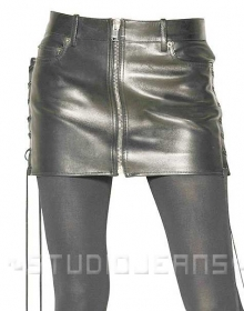 Side Lace-Up Leather Skirt - # 431
