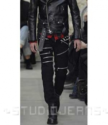 Leather Zipper Jeans - Style # 9