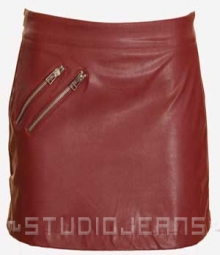Zipper Leather Mini Skirt