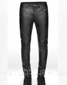 Black Stretch Leather Jeans