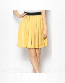 Contrast Waist Leather Skirt - # 180